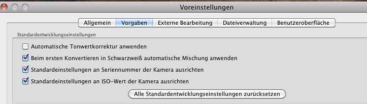 Lightroom-Voreinstellungen