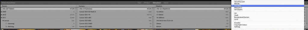 Lightroom filtern mit Metadaten