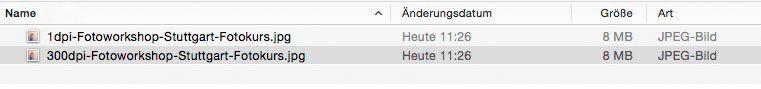 Identische Dateigröße trotz (sehr) unterschiedlicher DPI Einstellung (1 dpi VS 300 dpi)