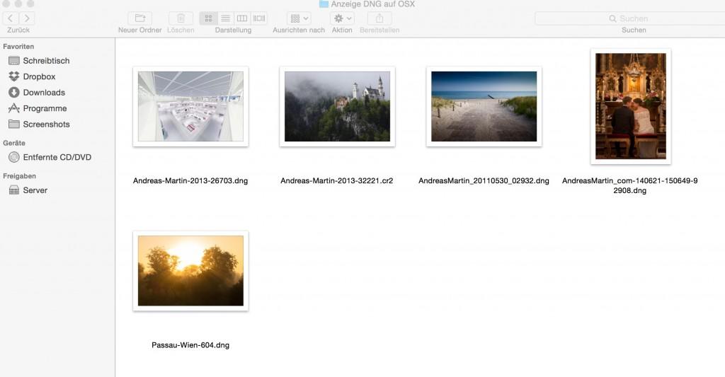 Anzeige RAW DNG am Apple Mac OSX 10.10